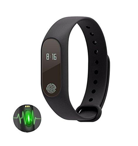 M2 Fitness-Tracker, iMusk Smart Band mit Step Counter Herzfrequenz-Monitor, wasserdichtes Smart Bluetooth Armband für Android und IOS Phones (Schwarz)