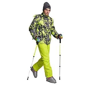 GWELL Herren Skianzug Schneeanzug/Skijacke mit Kapuze + Skihose mit Träger