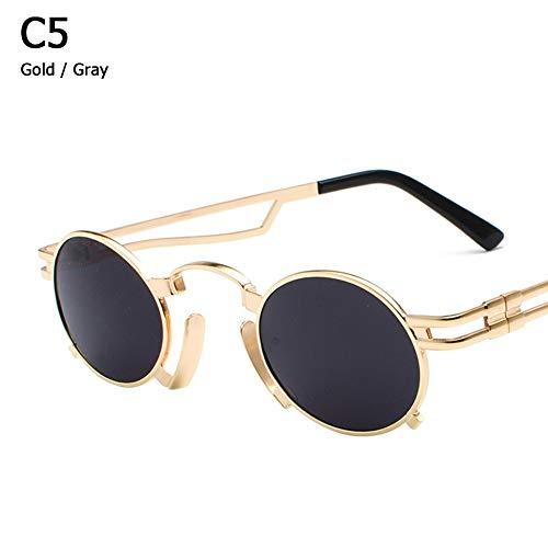 ZHOUYF Sonnenbrille Fahrerbrille Metall Oval Frame Steampunk Gothic Vampir Sonnenbrille Unisex Retro 1980Er Jahre Uv400 Sonnenbrille Cosplay Oculos De Sol, A