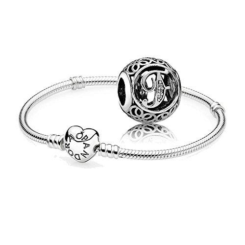 Original-Pandora-Geschenkset-1-Silber-Armband-mit-Herz-Schliee-590719-und-1-Silber-Charm-Vintage-F-791850CZ