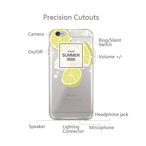 iPhone 6 Plus/6s Plus hülle vanki® Lustig Schutzhülle Clear Case Cover Bumper Anti-Scratch TPU Silikon Handyhülle für iPhone 6 Plus/6s Plus (5,5 Zoll) (Dandelion) Lemon