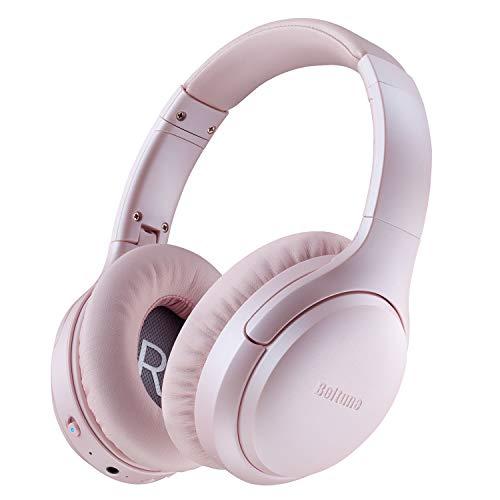 Active Noise Cancelling Kopfhörer, Boltune Kabellos Bluetooth 5.0 Over Ear Ohrhörer mit 30 Std Spielzeit Wireless ANC Headphones mit CVC 8.0 Geräuschunterdrückendes Mikrofon, Blütenkirsche-Rosa