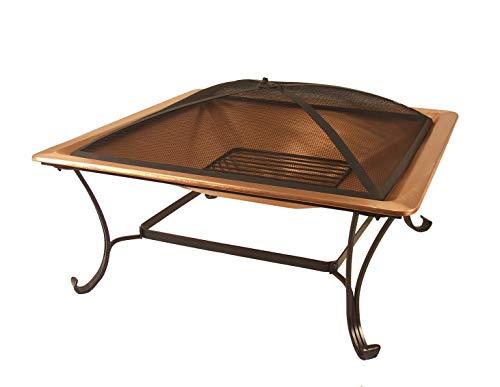 Bronze-kamin-bildschirm (Catalina Creations 83,8cm 100% Solides Kupfer quadratisch Terrasse Fire Pit mit Log Rost, Spark Display, Lift Werkzeug, und Schutzhülle)