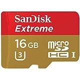 SanDisk Extreme 16GB microSDHC bis zu 90MB/Sek, Class 10, U3 Speicherkarte mit Adapter