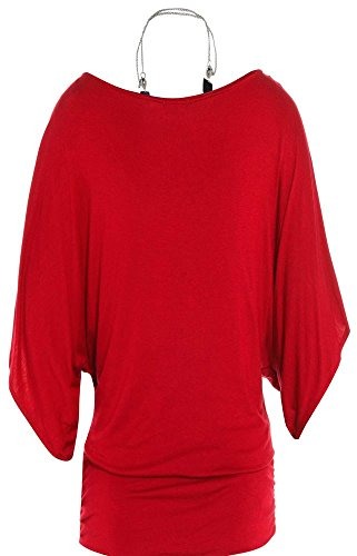 Chocolate Pickle ® Damen 3/4 Kimono Sleeve Halskette Tops 36-54 Red