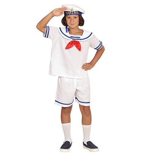 Widmann 03104 - Kinderkostüm Retro Sailor, Oberteil, Shorts und Hut, weiß, Größe 104 (Schuhe Seemann Kostüm Halloween)