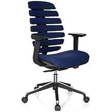 Hjh OFFICE 714510 Chaise De Bureau Fauteuil ERGO LINE II Bleu Avec Accoudoirs Pour Un Usage Intensif Support Lombaire Intgr Au Dossier
