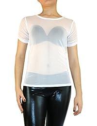Femme Vintage Transparent Tulle à manches longues Tunique forme T-shirt S M  L f1ec6eaf57d2