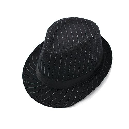 JEDAGX Mujer Hombre Unisex sombrero de algod¨®n ligero Trilby con banda negra, Summer Beach Sun Jazz, 58cm