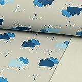 Softshell Stoff Regenwolken Royalblau Kinderstoffe - Preis