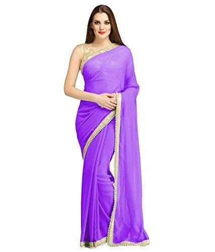 Elexsis Fashion Chiffon Silk Saree With Blouse Piece (El China Purple_Purple_Free Size)