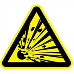 Warnzeichen: Warnung vor explosionsgefährlichen Stoffen 5cm Folie, Bogen = 6 Stück gemäß ASR A 1.3/BGV A8/DIN 4844
