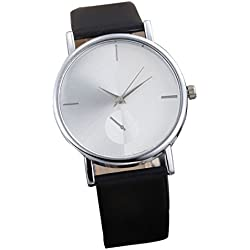 FEITONG Fashion Design Dial Analog Quartz Wrist Watch Simple Style Black
