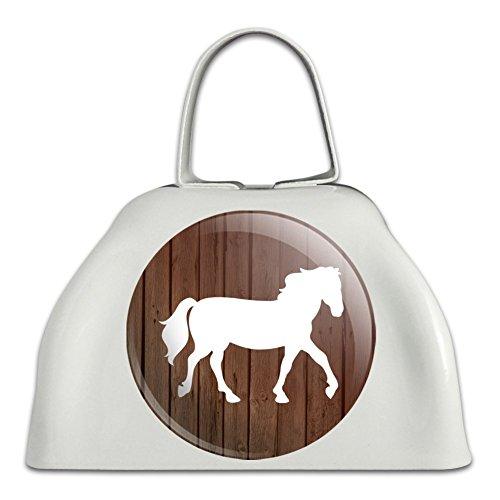 Pferd Silhouette Cowboy Western Weiß Metall Cowbell Kuhglocke Instrument (Silhouette Cowboy 3)