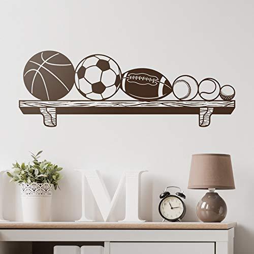 zqyjhkou Kinder Wandtattoo Bücherregal mit Bällen Basketball, Fußball, Rugby, Baseball, Tennis und Golfbälle. Ideal für Sportliebhaber F870 57x21cm (Dragon Ball-aufkleber-buch)