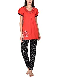 Go Glam Women's Nightsuit Set (Red and Black)