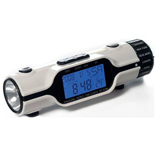 BEAUTS Multi-Funktions-Digital-LCD mit Hintergrundbeleuchtung LED-Bildschirm auf Reisen Weltzeituhr mit Taschenlampe Lcd-sheet