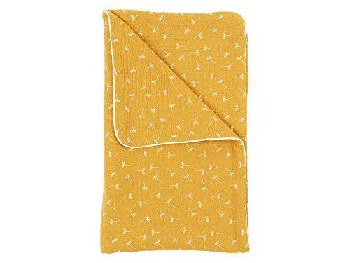 KraftKids Babydecke in Musselin gelb Pusteblumen, Kuscheldecke 70 cm x 100 cm, Fleecedecke mit Liebe handgefertigt in der EU (Baby Gelbe Kuscheldecke)