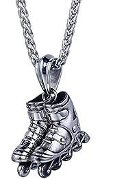 Trendsmax Deporte de la manera del acero inoxidable 316L del tono de plata Patines para mujer para hombre colgante con collar