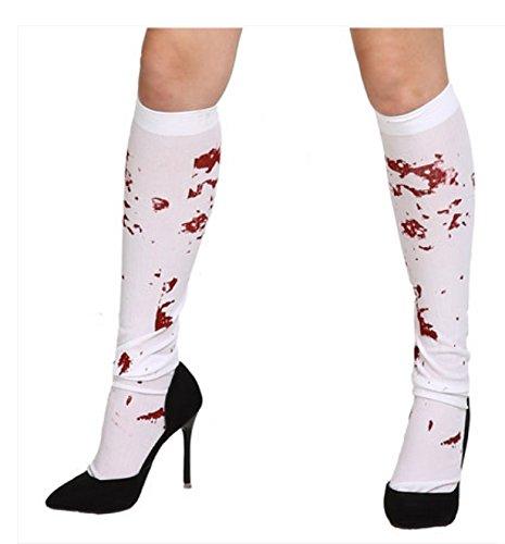 DROVE Halloween Weiß Bloody Zombie Blut gebeizt Strümpfe Fancy Kleid Kostüm (Weiß Blut Kleid Halloween)