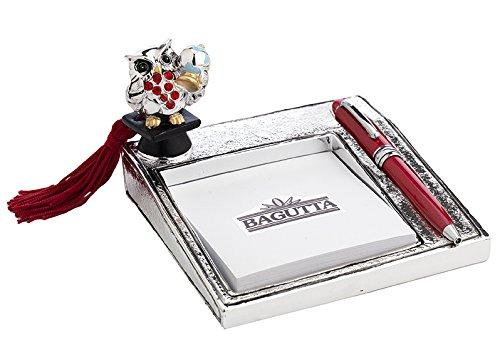 Laurea – memostick cm 12x14 con penna - con gufo con mappamondo – argentato e smaltato - bagutta con scatola rifinita