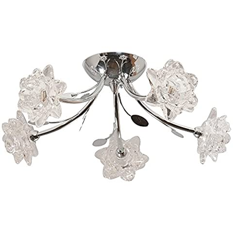 MODERN POLISHED CHROME & CRYSTAL GLASS 5 WAY SEMI FLUSH CEILING LIGHT WITH STUNNING GLASS FLOWER SHADES- IDEAL FOR LOW