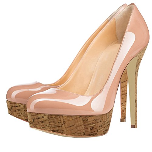 EKS Damen Runde Zehen Lack Stilettos Plateau Pumps High Heels Schuhe EU 35-46 Nackt