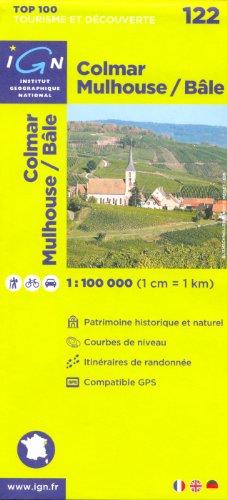 Colmar, Mulhouse / Bâle (France, Alsace) 1:100.000 randonnée topographique, le cyclisme et la carte routière n ° 122, IGN