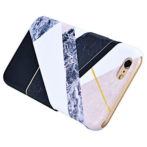 GrandEver iPhone 6S Plus Marmor Hülle, iPhone 6 Plus Hartschale Marble Case HardcaseWeiß und Schwarz Stein Malerei Muster Schutzhülle Spleiß Stil Handyhülle Hartcase Hartplastik Design Tasche Schutz E Bunt