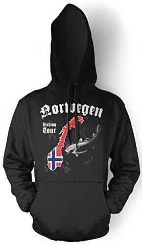 Kostüm Spaß College Einfach - Norwegen Fishing Tour Männer und Herren Kapuzenpullover | Angler Petri Heil Geschenke Fishing (Schwarz, L)