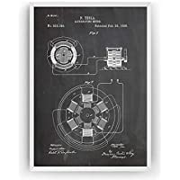 Tesla Poster de Patente Alternating Motor Patent Póster Con Diseños Patentes Decoracion de Hogar Inventos Carteles Prints Wall Art Posters Regalos Decor Blueprint - Marco No Incluido