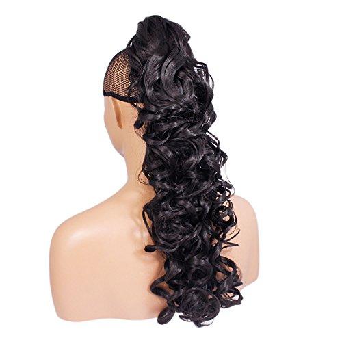 Elegant Hair - 56 cm/22 pouces queue de cheval frisé – Brun le plus foncé #2 - Clip-in pièce de extensions de cheveux réversible - Avec griffe-clip - 30 Couleurs - 250g