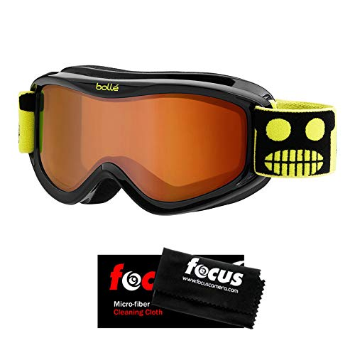 Bolle AMP Kids/Youth/Junior Snow Goggles (for Ages 3 to 8), Black Robot Frame, Anti-Fog Dual Vermillon Lens, with Microfiber Cleaning Cloth