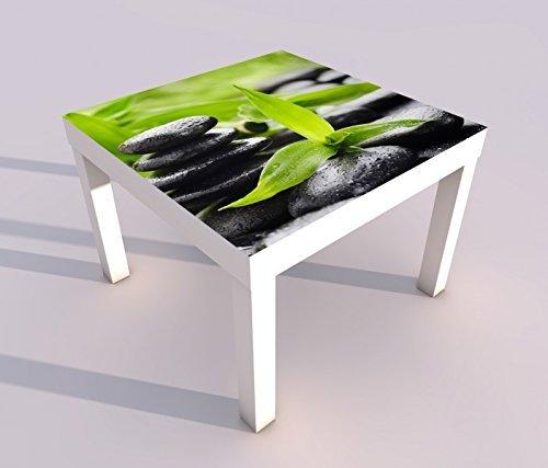 Design - Tisch mit UV Druck 55x55cm Wellness Stein Yoga Bambus Massage Spieltisch Lack Tische Bild Bilder Kinderzimmer Möbel 18A440, Tisch 1:55x55cm - Wellness Massage Steinen