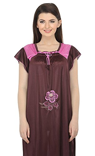 Miss Pixy Frauen bestickt Brown Nighty Satin Fashion Nachtwäsche (Chemise Bestickte Damen)