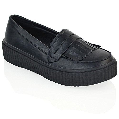 ESSEX GLAM Damen Flach Keilabsatz Halbschuh Gotic Punk Franse Creepers Schuhe Black Synthetic Leather