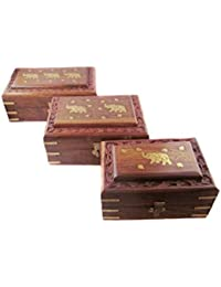 Onlineshoppee Traditional & beautiful set of 3 wooden jwellery box with top brass elephant carving