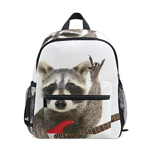 Raccoon Gitarren-Rucksack Schultasche, Bunte Büchertaschen für Schule Jungen und Mädchen, Kinder-Reisetasche, 3-8 Jahre alt - Echte Mädchen Tragen Camo
