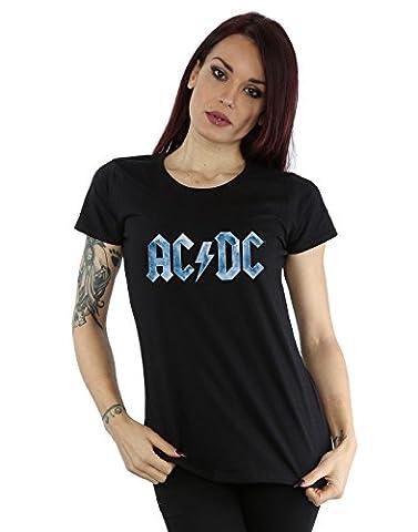 AC/DC Femme Blue Ice Logo T-Shirt Medium Noir