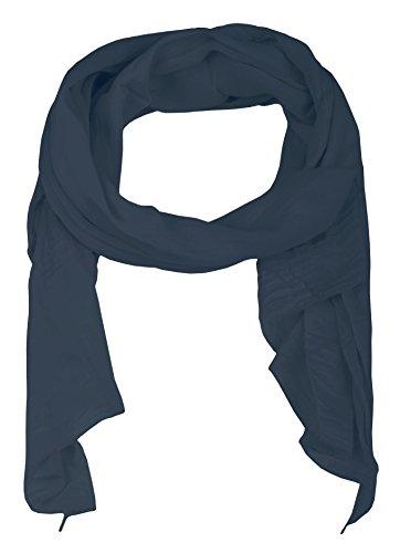 Zwillingsherz Seiden-Tuch für Damen Mädchen Uni Elegantes Accessoire/Baumwolle / Seiden-Schal/Halstuch / Schulter-Tuch oder Umschlagstuch einsetzbar - navy