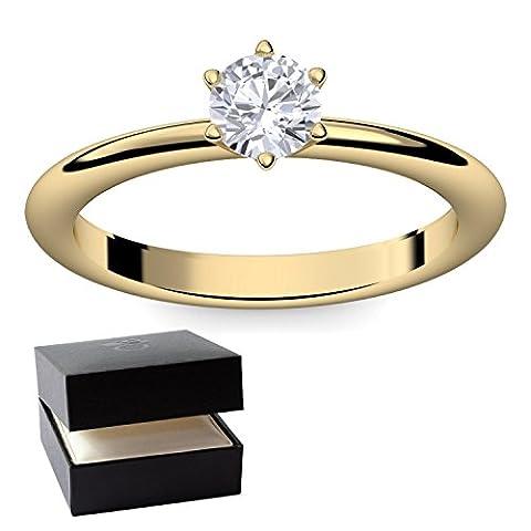 Goldring Verlobungsringe Gold (Silber 925 hochwertig vergoldet) von AMOONIC mit SWAROVSKI Zirkonia Ring Stein +LUXUSETUI! Goldring Gelbgold Ring Zirkonia wie Diamant Damen Ringe Verlobung (9 Ct Goldringe)