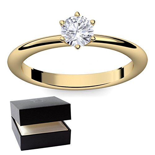 Verlobungsring Gold 585 Solitär Zirkonia + inkl. Luxusetui + - Verlobungsringe Gold Gelbgold 585 - Precious Amoonic Größe 56 (17.8) AM195 GG585ZIFA56 (Gangster Freundin Kostüme)