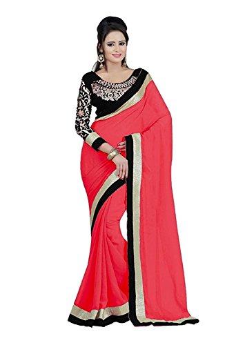 Kjp Villa Women\'s Georgette pink Free Size embroidery Saree With Blouse Pics (zeel saree-146)