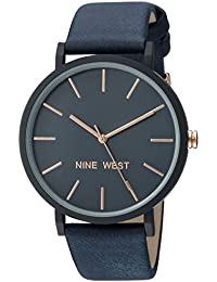Nine West Women's NW/2066NVRG Navy Blue Faux Suede Strap Watch