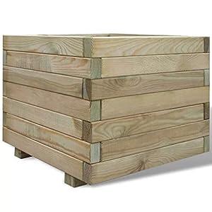 SOULONG Macetero cuadrado de madera