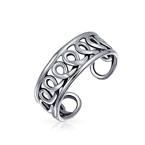 Bling Jewelry einstellbare Infinity Swirl Zehe Ring in Silber Breite Midi-Ringe