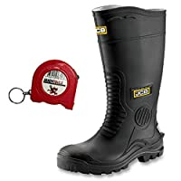 mad4tools JCB Hydromaster Safety Wellington Boots and 2M Tape Measure Black