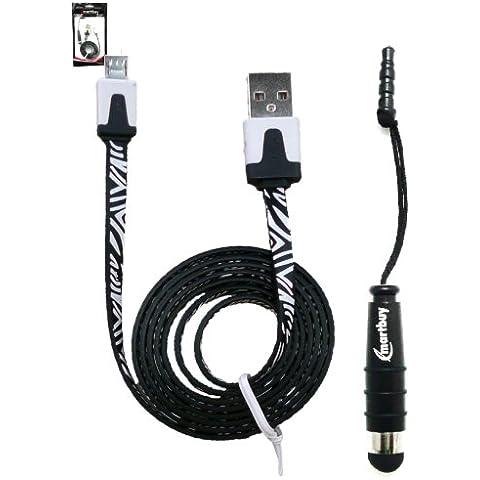 Emartbuy Cebra Serie Duo Paquete para LG U - Negro Mini Lápiz Óptico + Cebra Negro / Blanco Plano Anti-enredo Micro USB Cable