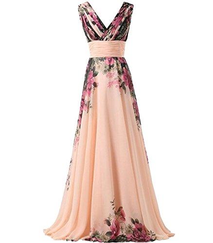 831c2f54bf3f KAXIDY Vestito Fiore Donna Vestiti da Sera Eleganti Vestito da Sera Lungo  Abiti da Cocktail Abiti da Sera Rosa Giallo