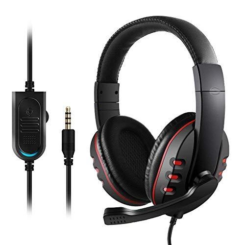 Cuffie gaming per ps4 con microfono, cuffie da gaming pc usb, cuffie gaming xbox one con led, stereo cancellazione di rumore controllo del volume per ps4, pc, tablet, laptop, smartphone, xbox one ecc.